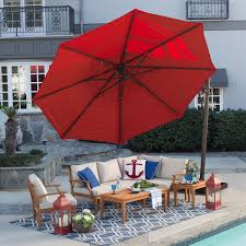 Patio Umbrella Replacement Canopy 8 Ribs by Rotating 13 Ft Offset Patio Umbrella With Tilt Red Canopy And Base