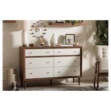 harlow mid century modern scandinavian style wood 6 drawer storage
