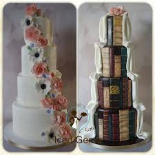 Half Wedding Cake And Book Facebook Icedgemsness A Traditional Style With Cascading Fondant Flowers Edible