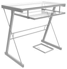 Ryan Rove Becker Metal and Glass puter Desk Silver