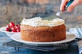 frau hausgemachte saure sahne kuchen mit frischkäse zuckerguss verzieren stockfoto und mehr bilder braun