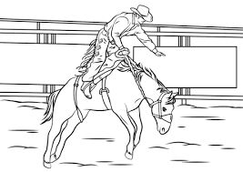 Bronc Riding Rodeo Coloring Page