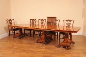 14 FT WALNUT REGENCY 3 PED DINING TABLE BULLOCK BASE TABLES For Sale