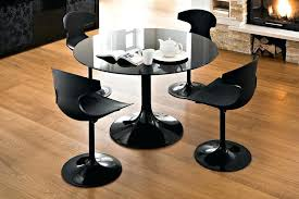 Dining Room Flooring Ideas Black Glass Round Table With Tulip Chairs For Modern