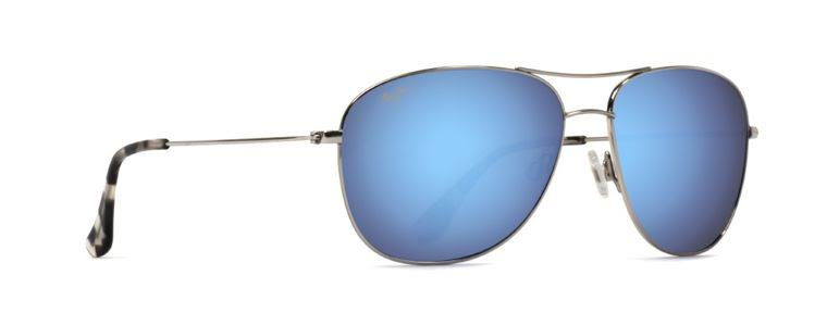 Maui Jim B247-17 Cliff House Unisex Polarized Sunglasses - Silver Frame/Blue Lens