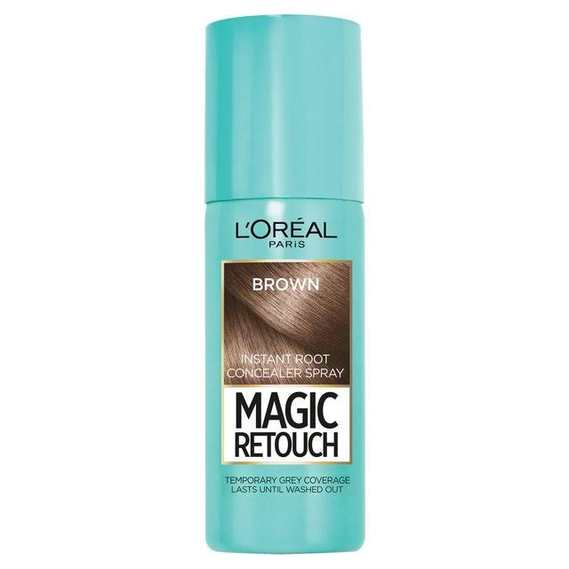 L'Oreal Magic Retouch Temporary Instant Grey Root Concealer Spray - Brown, 75ml