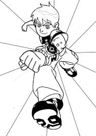 Ben 10 Young With His Omnitrix In Colouring Page