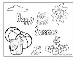 Summer Coloring Pages Printable Happy Beach Colouring Free