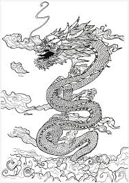 Coloring Page Adult Dragon Asian Inspiration