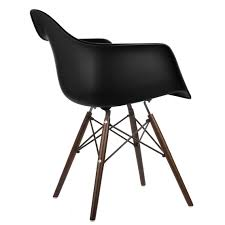 Eames Style DAW Molded In Black Plastic Dining Armchair With Dark ... Eames Plastic Armchair Daw 3d Cgtrader Replica Chair Ding Chairs Nick Scali Online Style Dark Gray With Wood Eiffel Charles Ray Office Upholstered Grey Cult Uk Armchair Model White And Dowel Light Buy The Vitra Utility Dowel Kids Vetrohome Modern Fniture