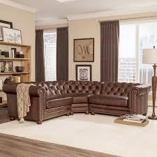 Allington 3piece Top Grain Leather Sectional Brown