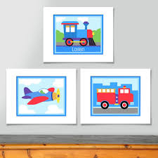 Trains & Trucks Wall Picture Art Print Personalized - Train, Fire ...