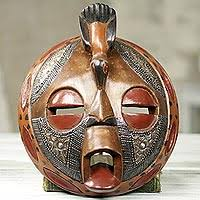 African Wood Mask Bird Of Happiness