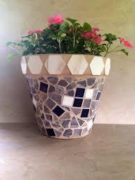 Large Flower Pot Mosaic Planter Handmade Indoor By MoZEHicDesigns