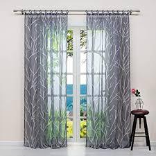 eslir gardinen mit kräuselband vorhänge transparent wohnzimmer fensterschal mit zweige muster voile grau bxh bxh 140x245cm1 stück