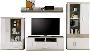 trendteam wohnzimmer 4 teilige set kombination arena 360 x 199 x 47 cm in korpus weiß front weiß hochglanz absetzungen eiche sägerau hell mit viel