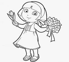 Princess Dora Coloring Drawing Free Wallpaper