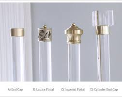 Finial For Lucite Curtain Rod Polished or Satin Brass