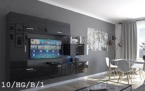 future 10 wohnwand anbauwand wand schrank möbel wohnzimmer wohnzimmerschrank hochglanz weiß schwarz led rgb beleuchtung 10 hg b 1 led weiß