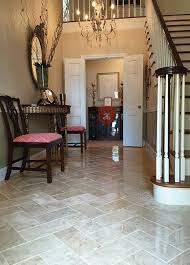 Stunning Entryway With Crema Cappuccino Polished 6x12 Tile Laying In A Herringbone Pattern Adds