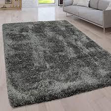 paco home hochflor wohnzimmer teppich waschbar shaggy uni in versch größen u farben grösse 120x160 cm farbe grau