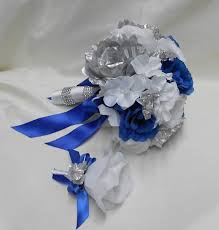 Blue And Silver Wedding Flower Bouquet