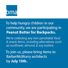 100 Barbermcmurry Architects BMa PARTICIPATES IN PEANUT BUTTER FOR BACKPACKS