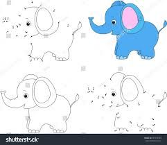 Cartoon Elephant Coloring Book And Dot To Educational Game For Kids