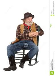 100 Cowboy In Rocking Chair Friendly Old Sits Stock Photo Image Of