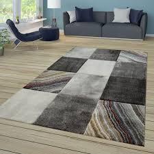 kurzflor teppich karo swirl design grau braun beige