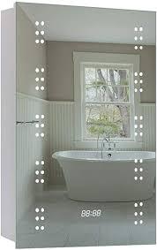 badzimmer spiegelschrank mit led beleuchtung sensorschalter steckdose digital uhr 70x50x13cm hxbxt