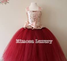 Rose Gold Burgundy Flower Girl Dress Bridesmaid Gown Bespoke Girls Tulle Princess
