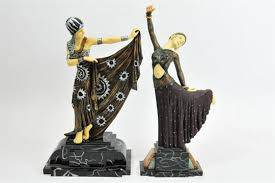 deco figurines reproductions two reproduction deco figures of