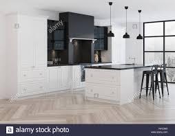 Modern White Kitchen Interior 3d Rendering Stockfoto Und Modern Kitchen Interior Modern Classic 3d Rendering Stock