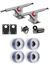 100 Caliber Precision Trucks Raw Longboard Wheels Package 62mm X 515mm 83A Clear