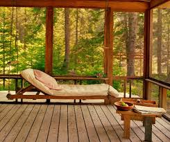 Long Daybed With Mattress In Rustic Sunroom A Small Wood Table Planks Floors For