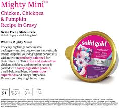 Solid Pack Pumpkin Nutrition by Solid Gold Mighty Mini Chicken Chickpea U0026 Pumpkin Recipe In Gravy
