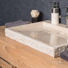 vasque à poser en marbre cosy ronde crème d 70 cm