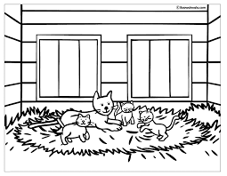 Kittens In A Big House Coloring Page