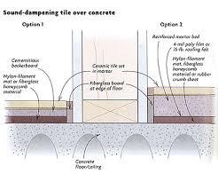 sound dening ceramic tile a concrete floor homebuilding
