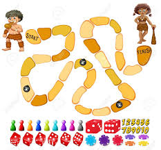 Illustration Of A Boardgame Template With Cavemen Stock Vector
