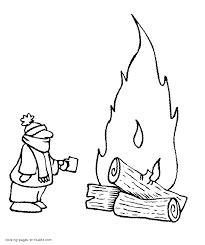 Winter Printable Coloring Pages Men Near The Bonfire