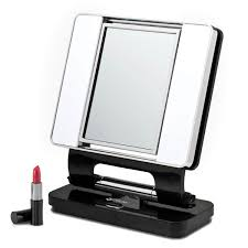 Lite Natural 5X 1X Lighted Magnifying Makeup Mirror Black