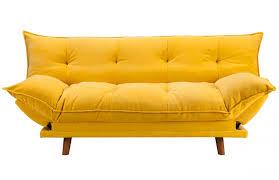 canapé clic clac convertible banquette clic clac rembourrée scandinave jaune pièce à vivre