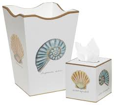 Allen G Designs Shell Design Wastebasket and Tissue Box Set