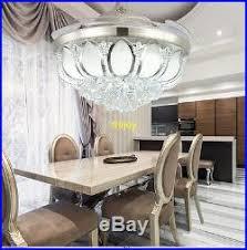 Fanaway Retractable Blade Ceiling Fan Light Kit Remote Control Raindrop Crystal