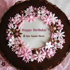 Pink flower chocolate Birthday cake photo editor