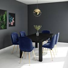 Black Extendable Dining Table With 6 Gold & Blue Velvet Chairs - Vivienne &  Jenna Small Round Ding Table In Black With 4 Teal Blue Velvet Chairs Rhode Island Kaylee Remarkable Navy Set Tufted Uptown Chair Silver Leaf Including Modern Lovely Pink Upholstered Gold Room Metal Frame Of 2 Extraordinary Covers Slipcovers A Rustic Elegant Thanksgiving Eclectic Living Room Home White Extendable 6 Vivienne Jenna Belinda Ding Chair Navy Khamila Fniture Store Kallekoponnet Kitchen Design Tiffany Slate Amusing