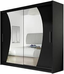 schwarze kleiderschränke mit spiegel wonoro