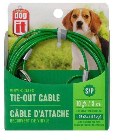 Dogit Tie-Out Cable, Blue, Medium, 15-ft